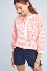 Anthropologie Embroidered Henley Top Pink