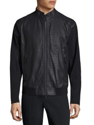 Armani Collezioni Perforated Leather Jacket Navy