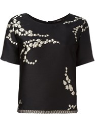 Odeeh 'Plants' Embroidery Blouse Black