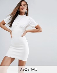 Asos Tall Ribbed Mini Corset Dress With Wired Cups White