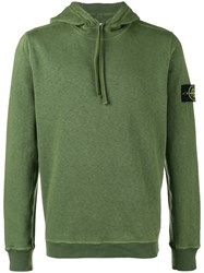 Stone Island Button Patch Hoodie Cotton L Green