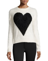 Neiman Marcus Heart Print Fuzzy Knit Sweater Ivory Black