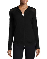 Donna Karan Stretch Cashmere Zip Front Hoodie Black