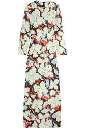 Msgm Printed Twill Gown Light Blue