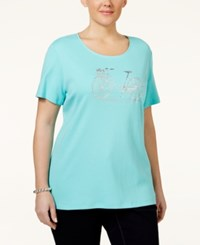 Karen Scott Plus Size Embellished Graphic T Shirt Only At Macy's Island Sky