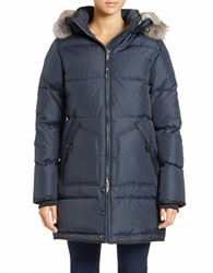 Pajar Convertible Coyote Fur Trimmed Quilted Coat Navy Blue