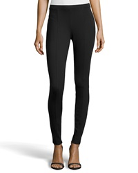 Neiman Marcus Seamed Ponte Leggings Black