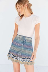 Ecote Chevron Sweater Knit Mini Skirt Blue Multi
