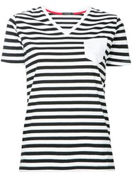 Loveless Striped V Neck T Shirt Women Cotton 34 White