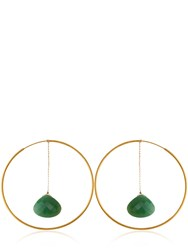 Katerina Psoma Selene Hoop Agate Drop Earrings