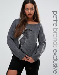Noisy May Petite One Shoulder Knitted Sweat With Sequin Lightning Motif Grey