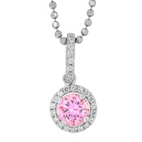 Jools By Jenny Brown Sterling Silver Cubic Zirconia Round Pendant Light Pink