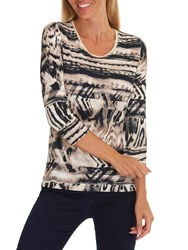 Betty Barclay Animal Print Top Camel Beige