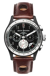 Jack Mason Brand Men's Chronograph Leather Strap Watch 42Mm