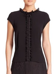 Abs By Allen Schwartz Ruffle Cap Sleeve Blouse Black