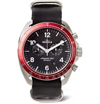 Shinola The Rambler Tachymeter Chronograph 44Mm Stainless Steel And Webbing Watch Black