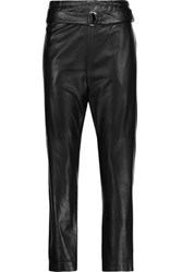 Brunello Cucinelli Belted Leather Tapered Pants Black