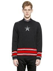 Givenchy Wool And Mohair Sweater With Stars Black