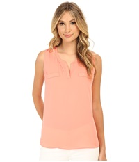 Christin Michaels Sleeveless Split Neck Top W Besom Pockets Coral Women's Sleeveless