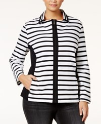 Karen Scott Plus Size Striped Jacket Only At Macy's Bright White