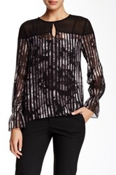 Ellen Tracy Poet Cuff Printed Georgette Blouse Black