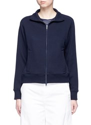 Vince Cotton French Terry Cropped Track Jacket Blue