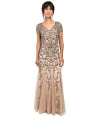 Adrianna Papell Short Sleeve Beaded Gown Taupe Pink Women's Dress Beige