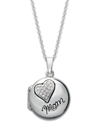 Macy's Inspirational Sterling Silver Necklace Mom Crystal Heart Locket Pendant