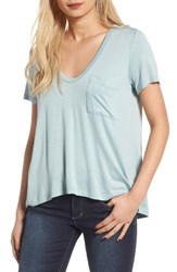 Lush Women's Deep V Neck Tee Grey Mist
