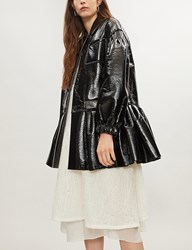 Huishan Zhang Pleated Hem Faux Leather Coat Jet Black