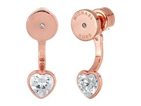 Michael Kors Cz Hearts Front Back Earrings Rose Gold Earring