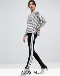 Asos Tall Skinny Trousers With Checkerboard Side Stripe Black