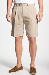 Men's Big And Tall Cutter And Buck Double Pleated Microfiber Twill Shorts Khaki