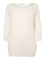 Persona Agata Pearl Detail Knitted Sweater White