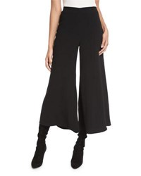 Co Flat Front Wide Leg Culotte Pants Black