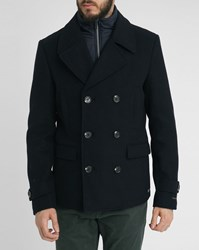 Scotch And Soda Navy Removable Front Insert Wool Pea Jacket