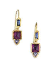 Ila Spectral Blue Sapphire Amethyst Iolite And 14K Yellow Gold Drop Earrings Gold Multi
