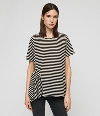 Allsaints Robi Stripe T Shirt Chalk Ink Blue