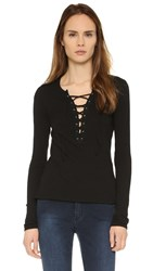 Pam And Gela Long Sleeve Lace Up Tee Black