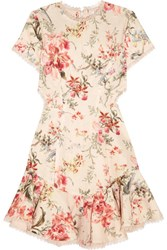 Zimmermann Mercer Lace Up Floral Print Linen And Cotton Blend Mini Dress Cream