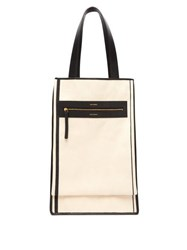 Lutz Morris Saylor Leather Trimmed Canvas Tote Bag Beige Multi