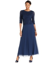 Alex Evenings Petite Elbow Sleeve Sequin Lace Gown Navy