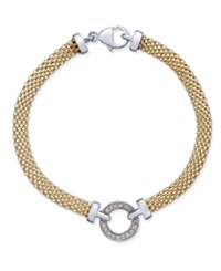 Macy's Diamond Mesh Circle Bracelet 1 8 Ct. T.W. In 14K Gold Plated Sterling Silver Gold Over Silver