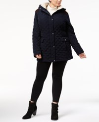 Laundry By Shelli Segal Plus Size Fleece Trim Quilted Coat Navy