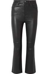 Current Elliott The Kick Cropped Leather Flared Pants Black