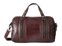 French Connection Nora Satchel Biker Berry Snake Pu Satchel Handbags Brown