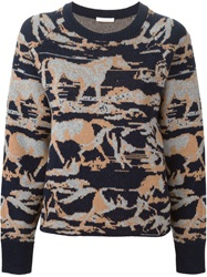 See By Chloe Horse Intarsia Sweater Blue
