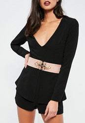 Missguided Light Pink Ornate Faux Suede Waist Belt Nude
