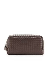 Woven Leather Dopp Kit Brown Bottega Veneta