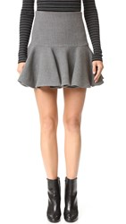 Milly Wool Flounce Skirt Charcoal